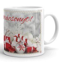 Karácsonyi bögre fehér-piros színekkel