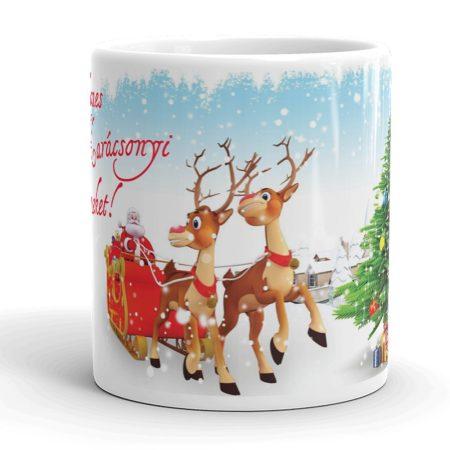 Karácsonyi bögre, Télapóval és szarvasokkal