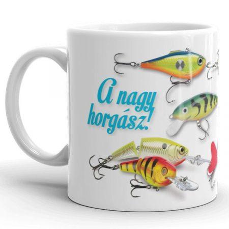 Horgászos bögre, pergető woblerek