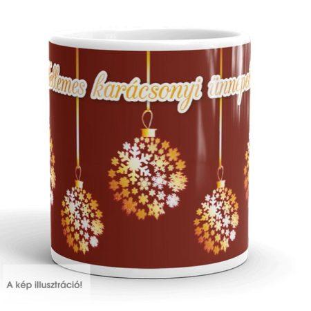 Karácsonyi arany-bordó bögre