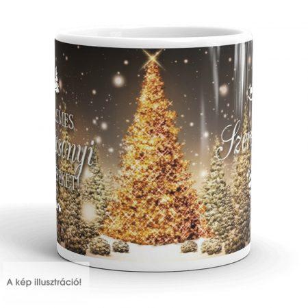 Karácsonyi aranyfenyő bögre