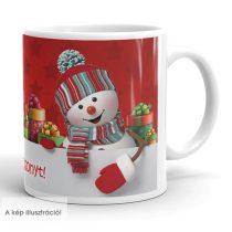 Karácsonyi hóemberes fényképes bögre