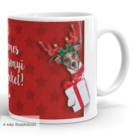 Karácsonyi bögre kutyával